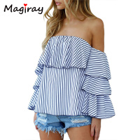Boho Off Shoulder Striped Blouse Femme Long Sleeve Shirt Women Tops 2017 Summer Camisas Femininas Slash