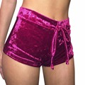 New Fashion Women Ladies Elasticated  Shorts Shortpants Crushed Velour Velvet Mid Rise HOT Slim Bottoms