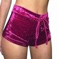 Nueva moda señoras de las mujeres elásticos pantalones cortos shortpants aplastado terciopelo terciopelo mid rise hot delgado bottoms