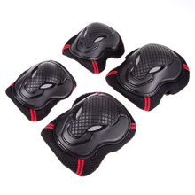 6 Pcs/Set Skating Skateboard Roller Blading Elbow Knee Wrist Safety Protective Gear Sport Pad Guard Set Black / Red
