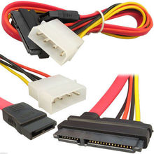 2Pcs SATA Combo Data Cable to 4 Pin IDE Molex & Serial ATA Power HDD DVD Adapter Lead