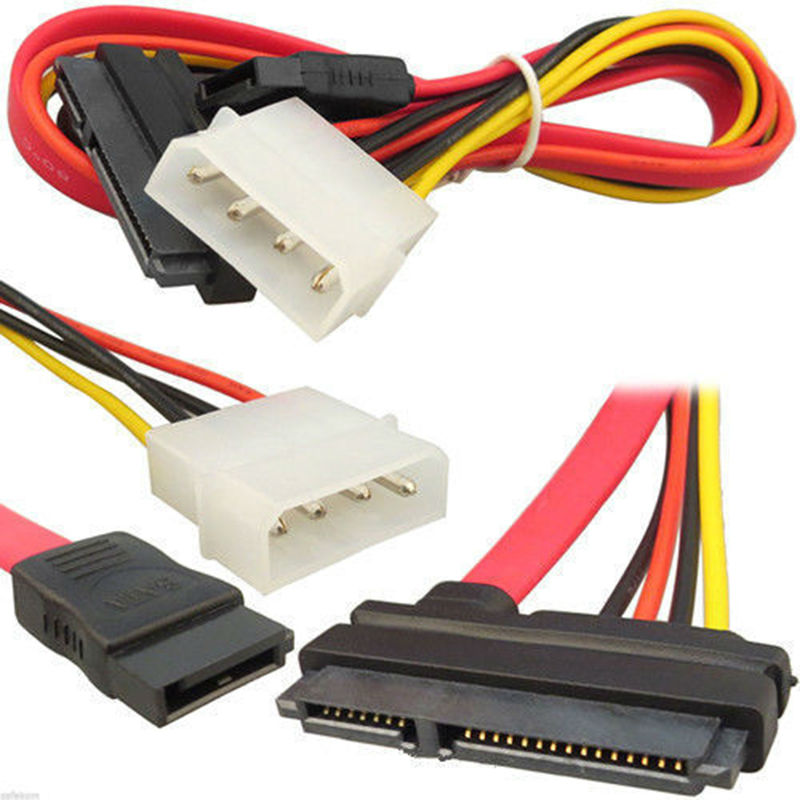2pcs SATA Combo Data Cable to 4 Pin IDE Molex & Serial ATA Power HDD DVD hard disk Adapter Lead For PC Desktop computer server 2pcs lot wholesale serial 20cm 18awg 4 pin ide molex to 2 15 pin sata ata hdd power adapter cable free shpiinng