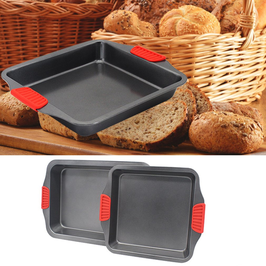 Baking Oven With Heavy Steel Silicone Handle Baking Tray Non-Stick Cake Square Rectangular Baking Tray Deepening Thickening