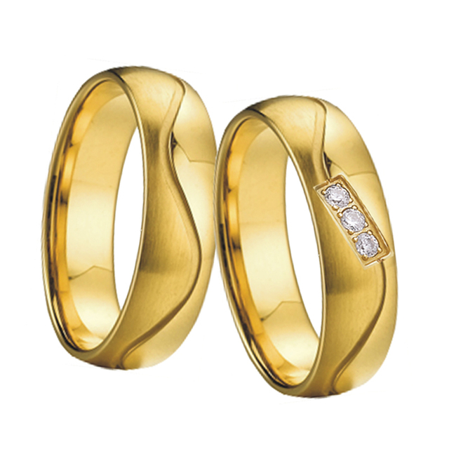 Vintage Couple Wedding Band Men's Ring Jewelry Gold Color bague anillos anel aneis Engagement Rings for women