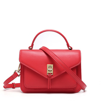 1085 New Simple and Fashionable Shoulder Bag Women Lock Catch Small Cowhide Leather Handbag