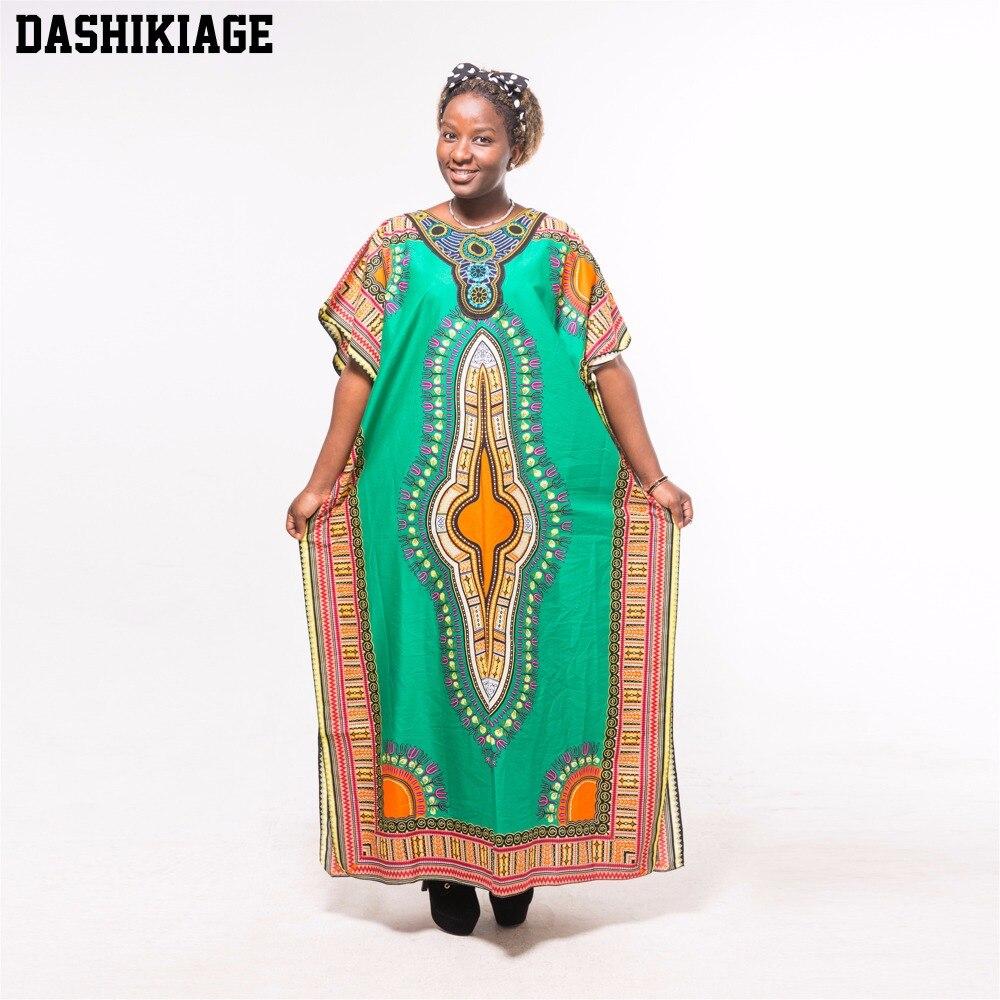Dashikiage Autumn African Tribe Dashiki fabric Appliques Green Loose Long Maxi Dress knitting