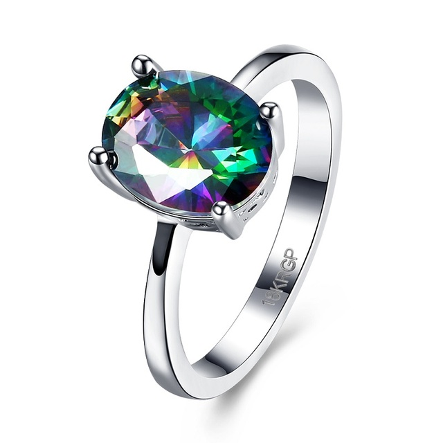 hhyde female mystery rainbow ring fashion style white gold filled jewelry vintage wedding rings - Rainbow Wedding Rings