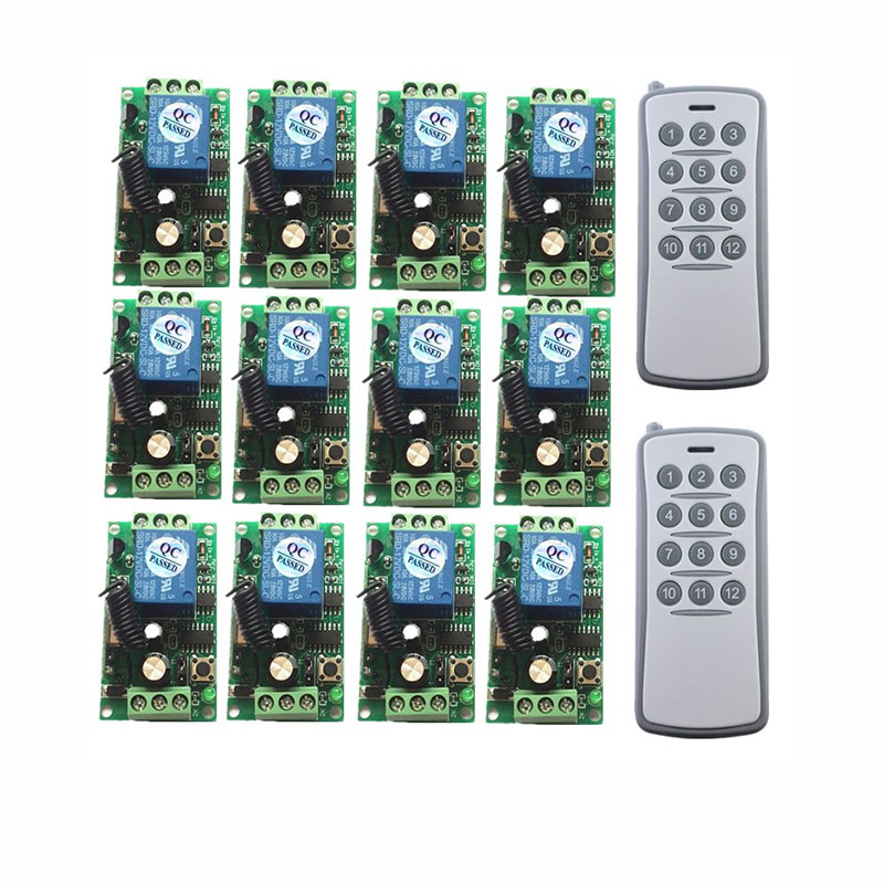 DC 12V 24V 12CH RF Wireless Remote Control Switch System 12 Receivers + 1 Transmitter Control Momentary Toggle 315/433mDC 12V 24V 12CH RF Wireless Remote Control Switch System 12 Receivers + 1 Transmitter Control Momentary Toggle 315/433m