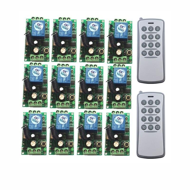 DC 12 V 24 V 12CH RF système de commutation à distance sans fil 12 récepteurs + 1 commande de l'émetteur bascule momentanée 315/433 m