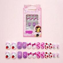 Lovely Strawberry Pattern Fake Finger Nails 24 Pcs Children Disposable Tip Pre-glue Press on Harmless False for Kids