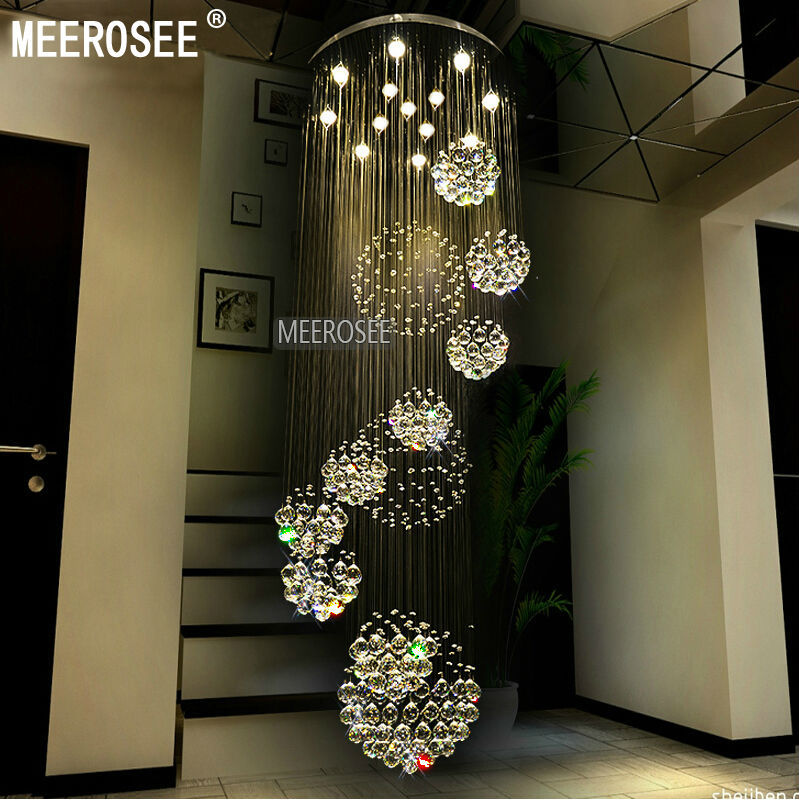 Modern large crystal chandelier light fixture spiral lustres de cristal for lobby staircase foyer long crystal lighting in chandeliers from lights