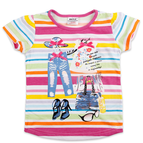New arrival!!! Hiqh quality girl summer colorful stripe short sleeve t shirt with printing, free shipping, 5pcs/lot