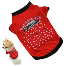 2018 New Summer Pet Small Dog Cat Pet Clothes Vest Puppy Printed T Shirt For Small Pets Hot Selling Red Apparel Costume(China)