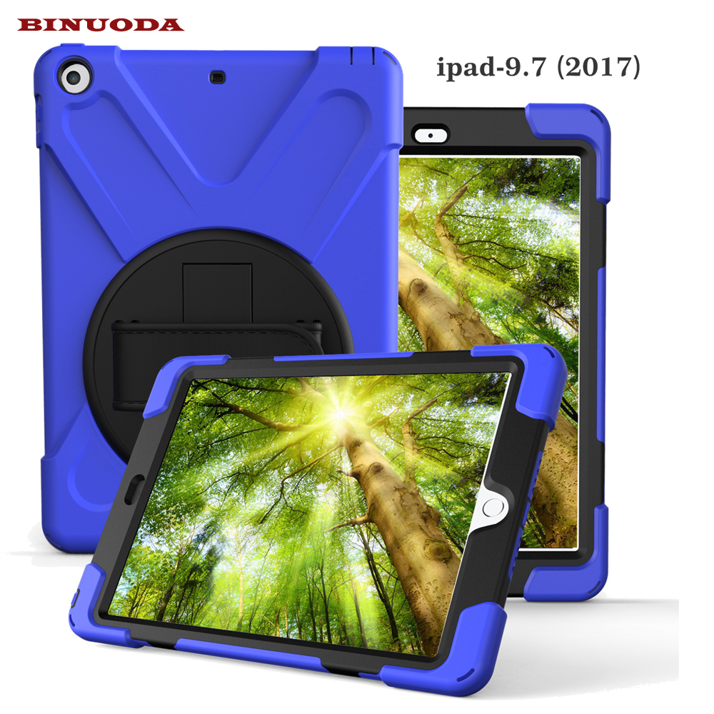 360 Degree Rotatable PC Rugged Shockproof Cover Case for New iPad 9.7 inch Tablet 2017 Edtion Built-in Stand Hand Strap
