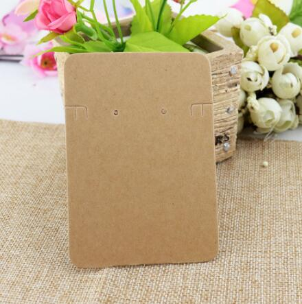 High Quality 200Pcs 6.8x9.7cm Brown Jewelry Cards Paper Earrings Card Necklace Display Packaging Cards Tag Can Custom Logo