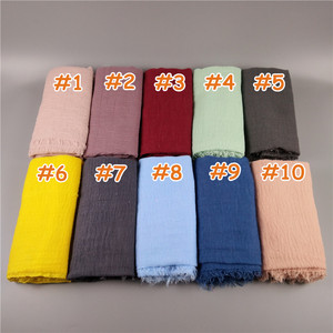 Image 3 - H8 10pcs  Crinkled hijab Wrinkle scarf Bubble cotton viscose scarf Crinkle Plain Shawl muslim Head Hijab maxi Scarf