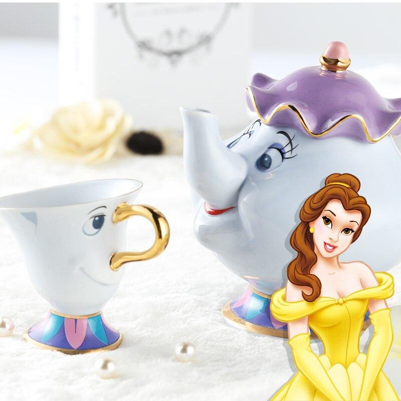 Porselein 18 k vergulde keramische coffeemugs cartoon schoonheid en het beest mrs potts chip koffie thee set pot cup mok(China (Mainland))