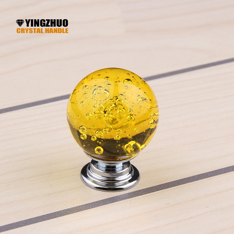 2018 Puxadores Yellow 30mm 10pcs Crystal Glass Clear Cupboard Door Drawer Knobs Bubble B ...