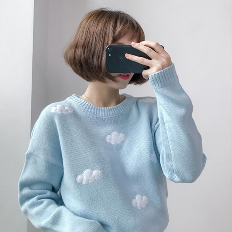 Cloud sweater loose short paragraph sweet small fresh knitting
