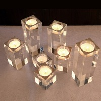 3pcs Set Cylinder Crystal Vases Wedding Centerpieces Tea Light Candles Holder Party Supplies
