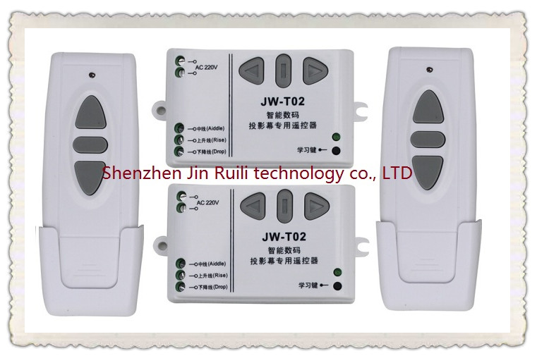 ФОТО  220V wireless projection screen remote control switch curtain 2* Receiver +2*Transmitter