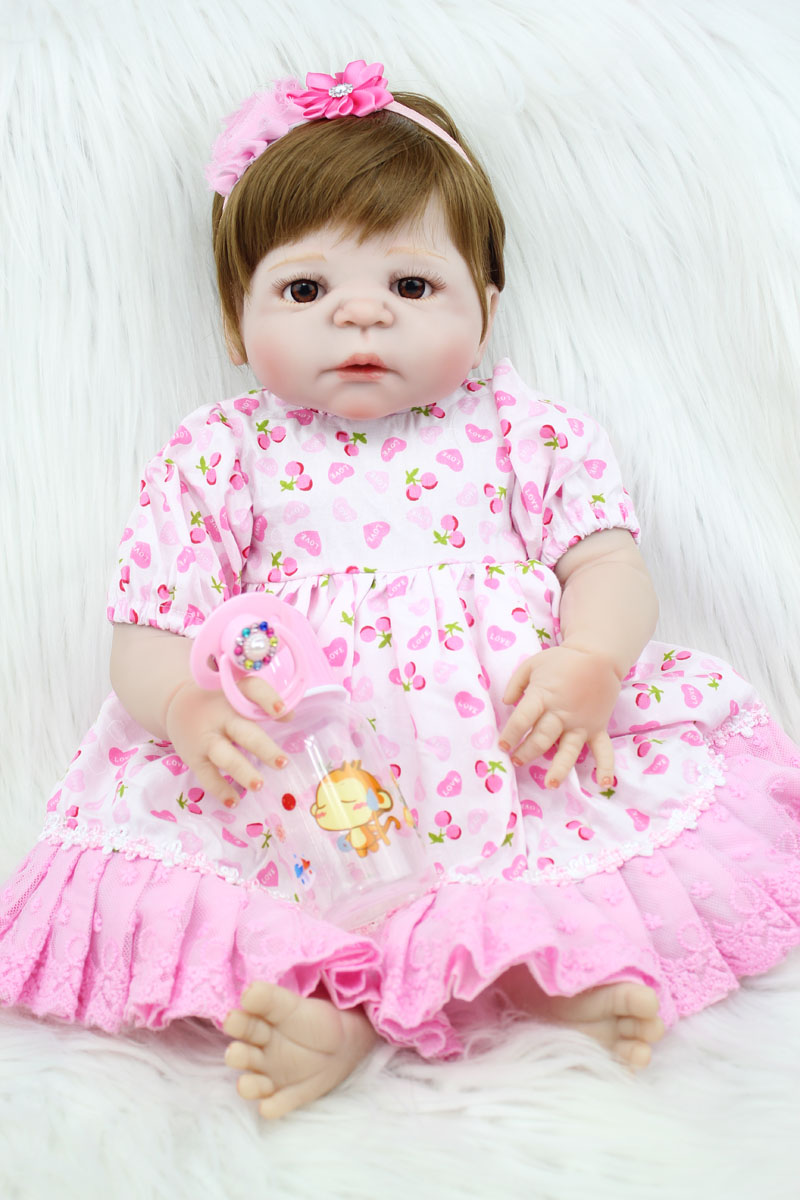 55cm Full Silicone Body Reborn Baby Like Real Doll Toys Newborn Princess Girl Toddler Babies Dolls Xmas Birthday Gift Bathe Toy 55cm new hair color full body silicone reborn baby doll toys realistic newborn girl babies dolls gift birthday gift bathe toy