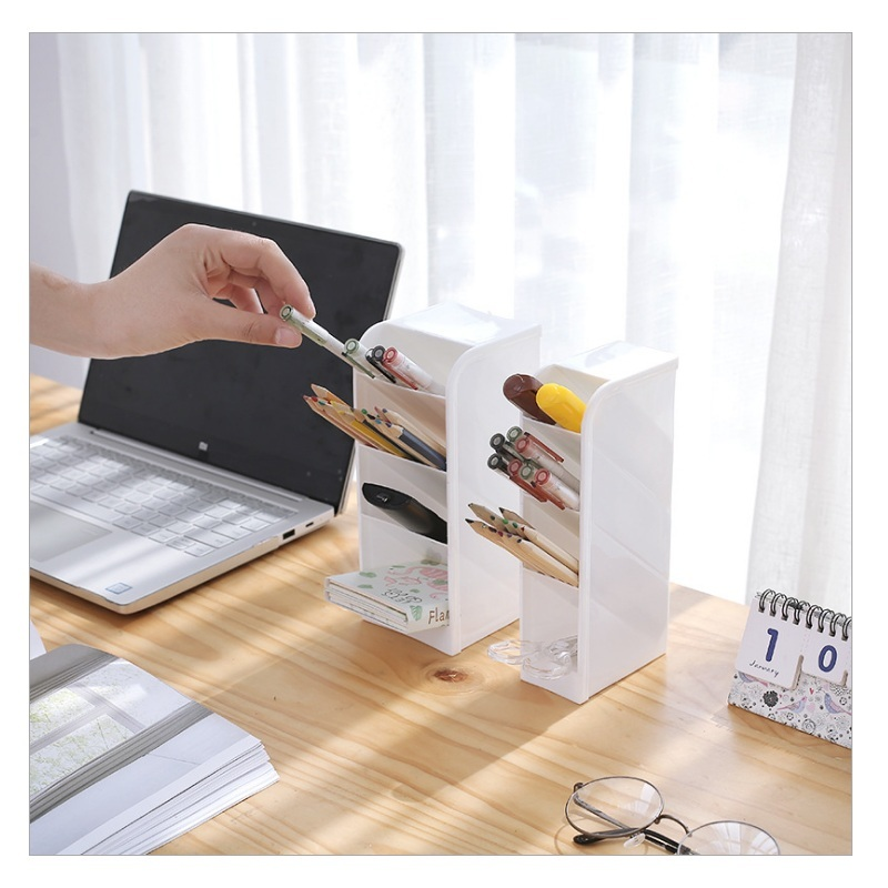Multi-function 4 Grid Desktop Pen Holder Office School Storage Case Clear 4 Colors  Plastic Box Desk Pen Pencil Organizer