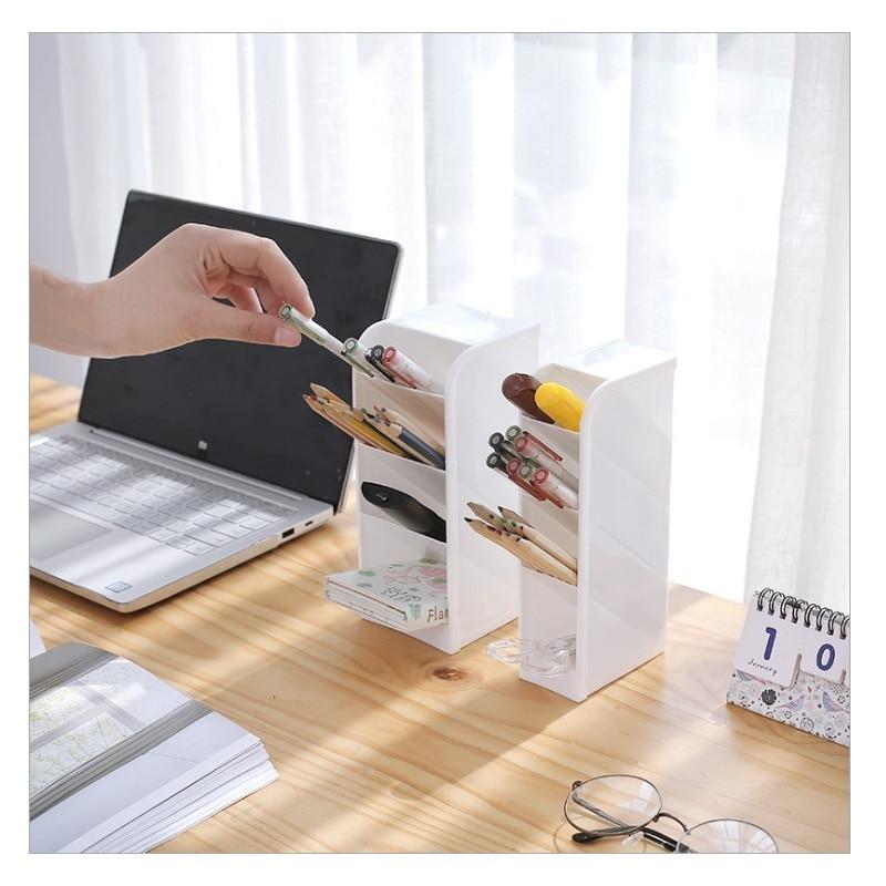 Multi-function 4 Grid Desktop Pen Holder Office School Storage Case Clear 4 Colors  Plastic Box Desk Pen Pencil Organizer