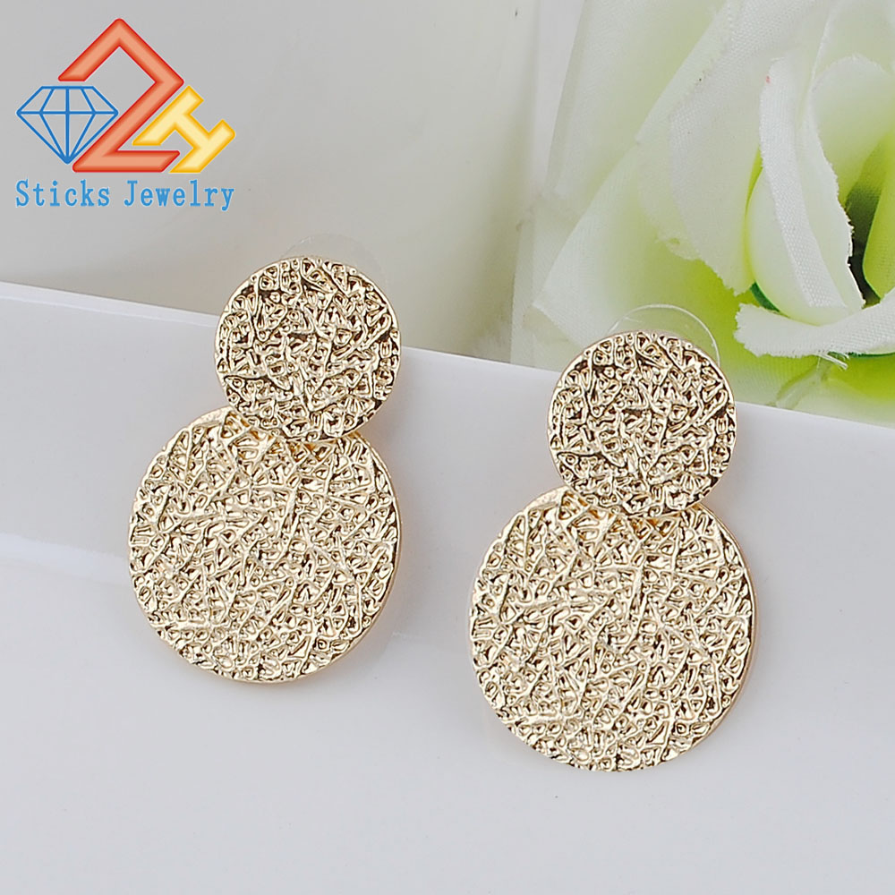 (1pair / lot) 100% green zinc alloy size round accessories earrings