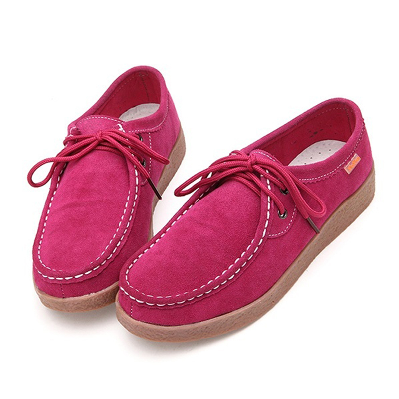 ABDB Spring Rubber Lace-up Women Casual Genuine   Leather   Flats Fashion Office Leisure   Suede   Women Shoes