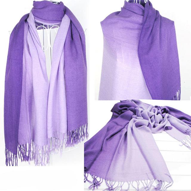 Gradient Color Long Women Winter Scarves