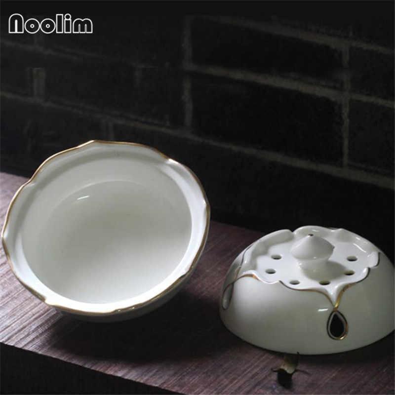 จีนโบราณสีขาว Lotus Coil ธูป Burner Hollow Gold - edge ธูป Stick Home Office ตกแต่ง Censer