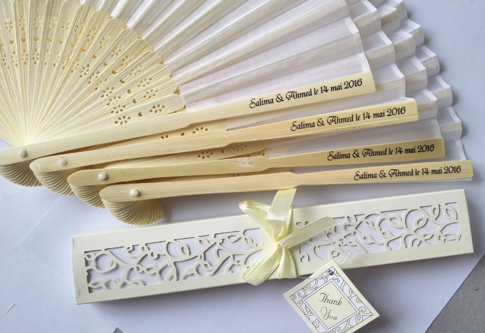 100pcs Lot Personalized Luxurious Silk Fold Hand Fan In Elegant Laser Cut Gift Box Party Favors Wedding Gifts Printing From Home Garden