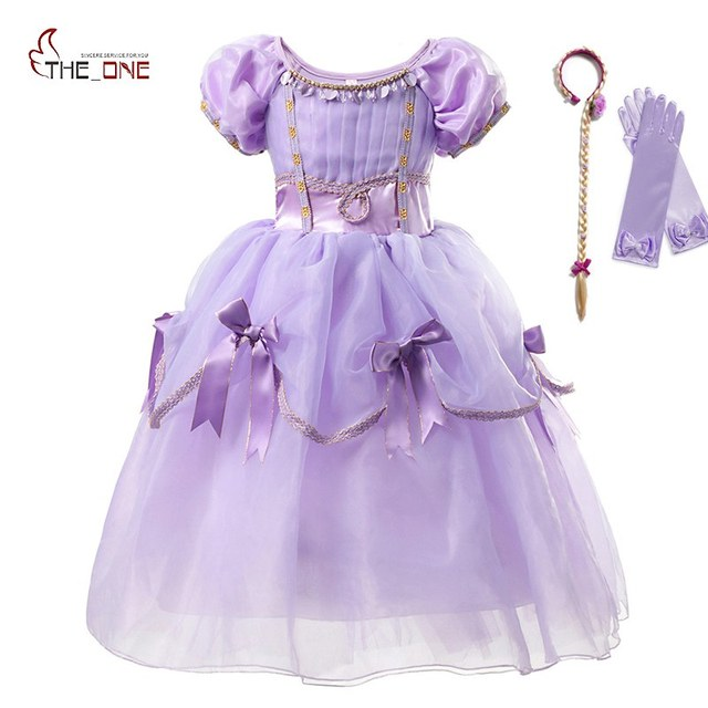 8438696828f41 US $8.43 29% OFF MUABABY Girls Sofia Princess Costume Puff Sleeve Deluxe  Rapunzel Cosplay Party Dress Up Clothes Kids Birthday Fancy Long Dress-in  ...