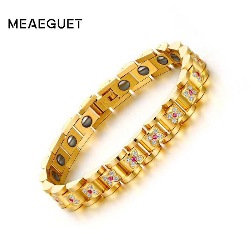 Meaeguet Luxury Paved Inlay Cubic Zirconia Health Hematite Bracelet For Women Bio Energy Bracelet sweet women s cubic zirconia inlaid wavy bracelet