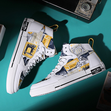 High Top Sneakers Mens Printed Shoes Mens Athletic Fashion Comfortable Vulcanized Shoes Skateboarding Shoes Zapatillas Hombre
