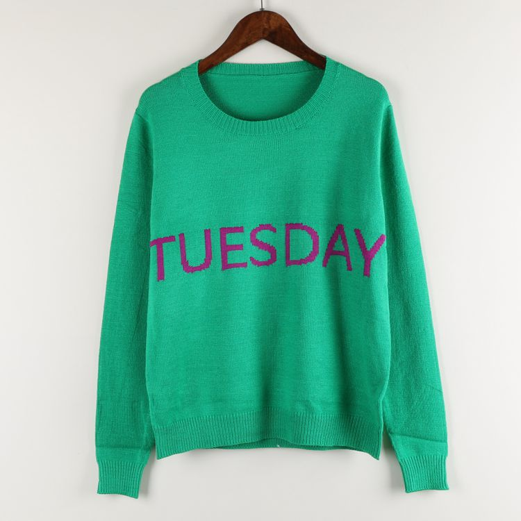 Sweater Knitted Warm Pullover Sweater Spring Autumn Winter Women's Sweater Fashion Day Week letter