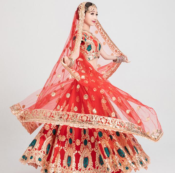 Sarees India Traditional Woman Wedding Costume Ethnic Style Performance Suits top+skirt+scarf+pants