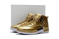 JORDAN Basketbal Schoenen goud wit razende bullss Ademend Hoogte Toenemende Suede Sneakers Voor Mannen Schoenen Jordan 12