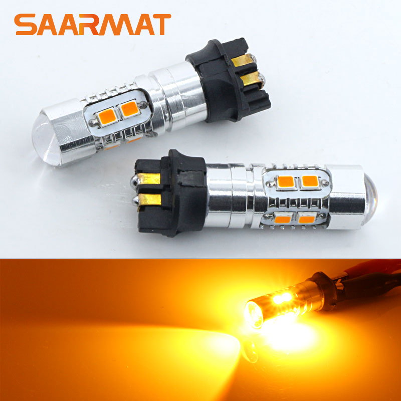 2x Amber 10-SMD <font><b>PW24W</b></font> PWY24W LED Bulbs For Audi A3 A4 A5 Q3 For VW MK7 Golf CC Front Turn Signal Lights For BMW F30 3 Series DRL image