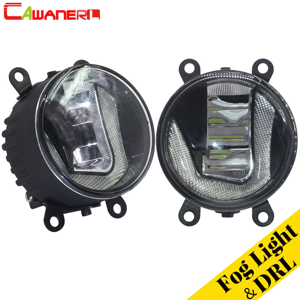 Cawanerl 1 Pair Car LED Bulb Fog Light Daytime Running Lamp DRL 12V White Styling High Bright For Peugeot 307 2002-2008