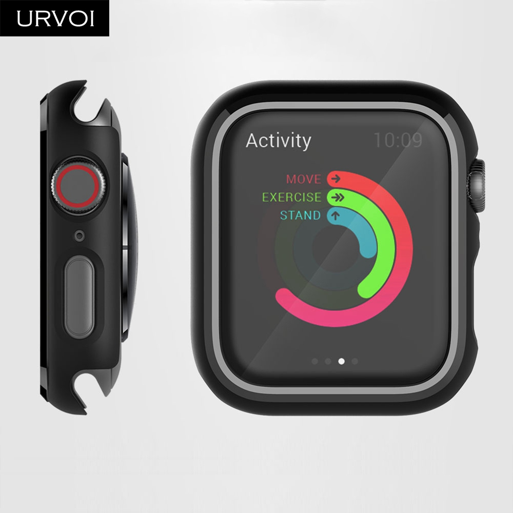 URVOI Black frame for Apple Watch series 4 3 Plastic bumper hard cover protectorfor iWatch 40 44mm slim fit Ultra-thin case_07
