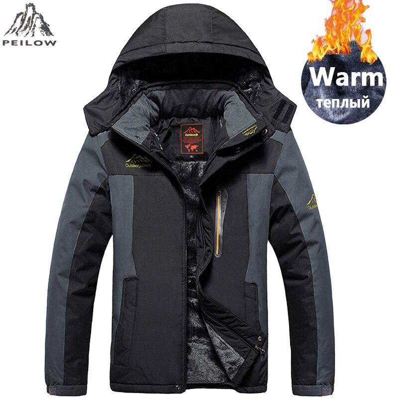 PEILOW grande taille 5XL, 6XL, 7XL, 8XL, 9XL veste d'hiver hommes imperméable coupe-vent velours chaud parka manteau tourisme montagne pardessus
