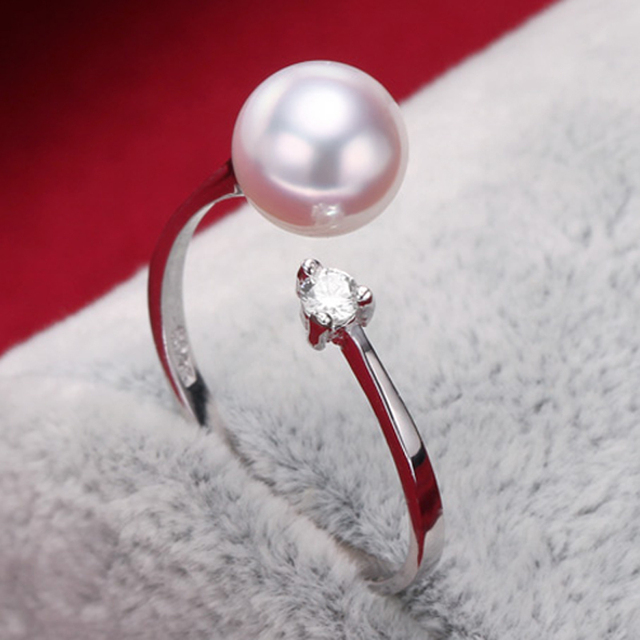 DAIMI 925 Sterling Silver Ring 100% Natural Round Pearl Rings For Women Wedding Ring LOLITA