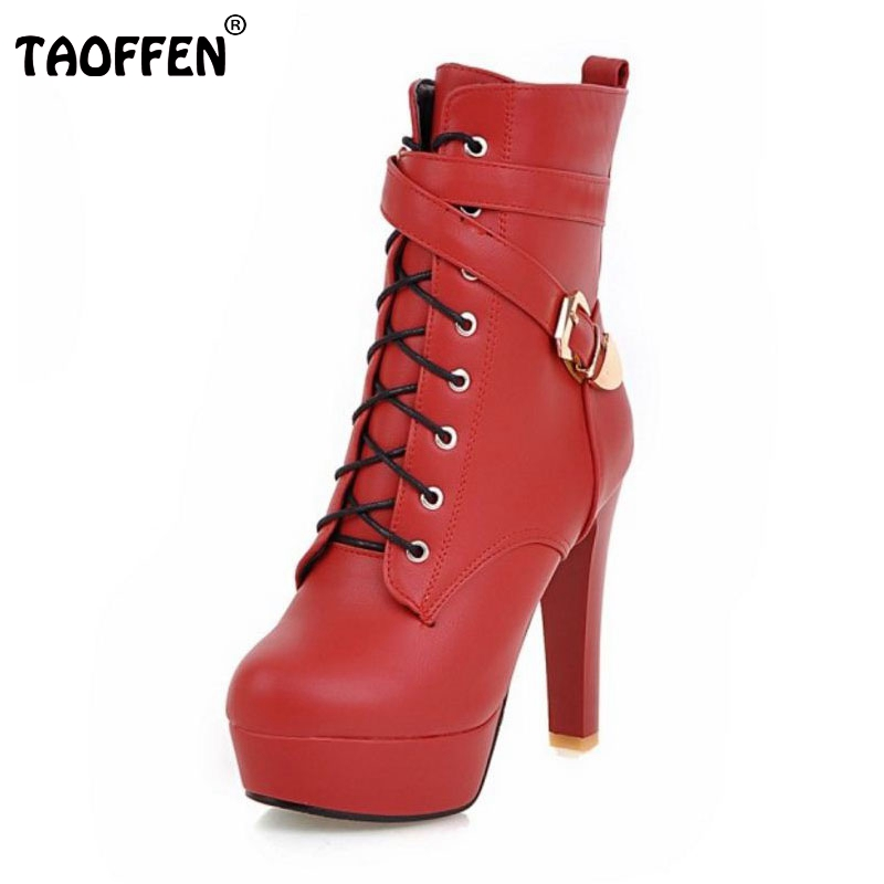 TAOFFEN Plus Size 33-45 Women Boots Women Shoes High Heeled Shoes Thin Heels Platform Short Plush Super Warm Winter Footwear large size 33 42 sexy ankle boots platform thin high heels women boots plush inside keep warm black white apricot brown shoes