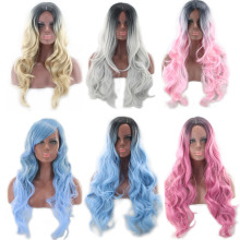цена на High Quality Two Tone Black Roots Long Wavy Black Grey Ombre Wig Synthetic Hair Natural Blue Pink Blonde Cosplay Wigs For Women