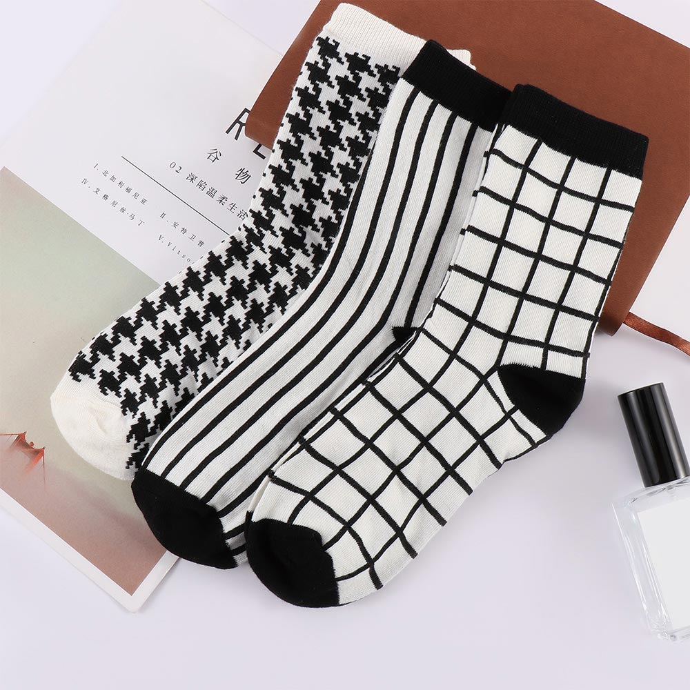 Fashion Stripe Houndstooth Cotton Socks High Quality Simple Men And Women Short Socks Comfortable Breathe