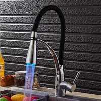 LED Kitchen Faucets With Rubber Chrome Sink Mixer Faucet For Kitchen Single Handle Pull Down Deck