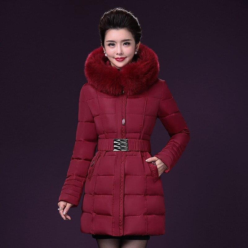 Women Winter Parka Plus Size Multi-Pockets Female Cotton Coat With Fur Hood Slim Fit Fashion Middle Age Coats A3364 fashion floral slim cotton dress cyan grey multi colored size m