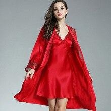 Silk Sleepwear Nightwear Bathrobe-Set Kimono Bath-Gown Lace Sexy Women Home Suit CEARPION